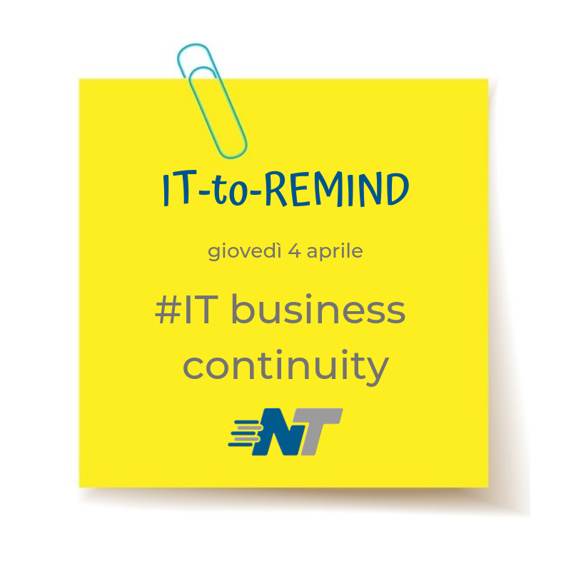 Post-it rubrica IT-to-Remind 4 aprile 2019 ITBusinessContinuity